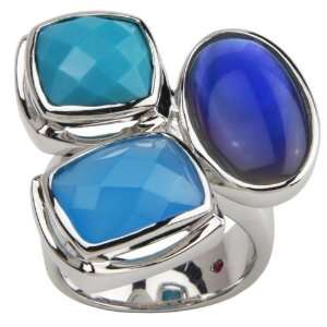ELLE Sterling Silver Blue Gemstone Trio Ring Claire Vessot Jewelry