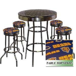 CHICAGO BEARS NFL Football Glass Top Chrome Bar Pub Table