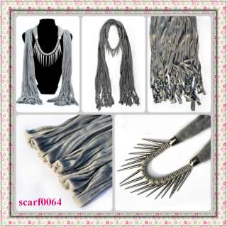 NEW fashion jewelry womens gray cotton scarves Wrap scarf pendant