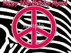 NEON Zebra PEACE Sign Edible CAKE Decoration Image Icing Topper Round