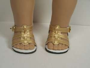 GOLD Sandals w/VELCRO Doll Shoes For AMERICAN GIRL♥