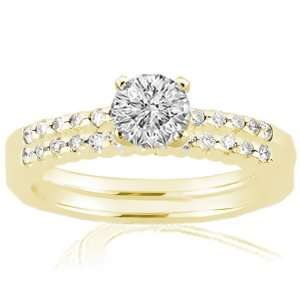 Diamond Engagement Wedding Rings Pave Set 14K SI2 GIA YELLOW GOLD Ring
