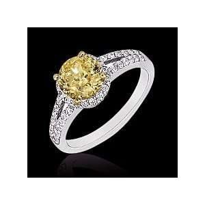 4 ct. yellow canary diamonds engagement ring solid gold