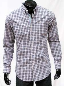 Nautica Mens Checked / Paid Button Down Long Sleeve Shirt