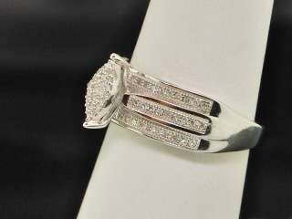 LADIES WHITE GOLD FINISH DIAMOND ENGAGEMENT RING PAVE