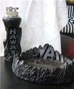 Lighter Ashtray HAWAII Souvenir Carved Black Lava Volcano 50s