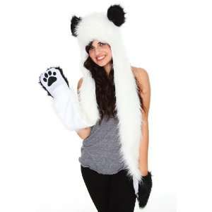 Animal Plush Faux Fur Hat with Ears and Long Mittens Toys & Games