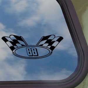 NASCAR # 88 CHECKERD FLAG Black Decal Truck Window Sticker