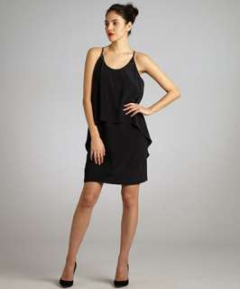 Nicole Miller black silk tiered embellished tank dress