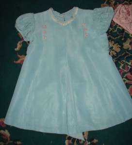 Vintage Girls Bear Pink Blue Dress Taffata?