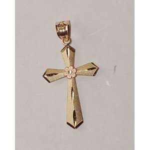 10k Two Tone Gold Cross Pendant Jewelry