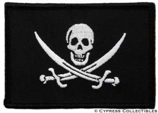 PIRATE FLAG iron on PATCH JOLLY ROGER Skull Swords NEW