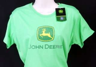 NWT John Deere Ladies Green T Shirt Authentic New 0024AG Tractor Tee
