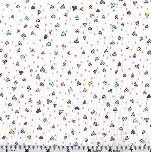 45 Wide Newton Tiny Hearts White Fabric By The Yard