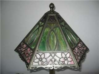 Antique Bradley Hubbard Slag Glass Lamp Filagree Overlay Panel Shade