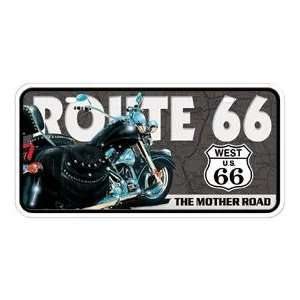 Metal Novelty Car License Plate Route 66 Motorcycle