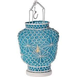 Turquoise Blue Hanging Wire and Linen Candle Lantern