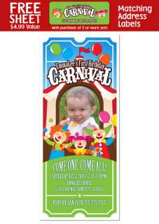 CARNIVAL CIRCUS CLOWN Birthday TICKET INVITATIONS