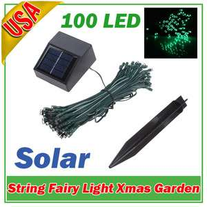 100 LED Solar String Light Garden Christmas Party Green