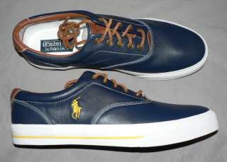 Polo Ralph Lauren Vaughn mens shoes soft leather sneakers new blue 11