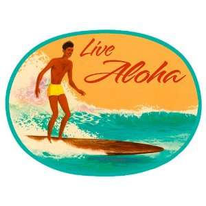 Live Aloha Surfer   Hawaiian Art Decal   Car Window Bumper