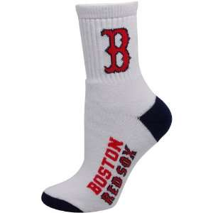 Boston Red Sox Ladies White Navy Blue Dual Color Team Logo Crew Socks