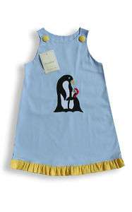 Girl Christmas Penguin Jumper dress applique 4T 4 16618