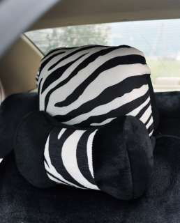 Auto Car plush Front Rear Seat Cover ZEBRA 19pcs bowknot two color red