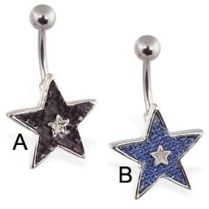 Carbon fiber & denim material star belly ring, A   Black Carbon