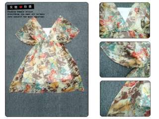 New Korea Womens Chiffon Tulle Flower 2 PC Dresses