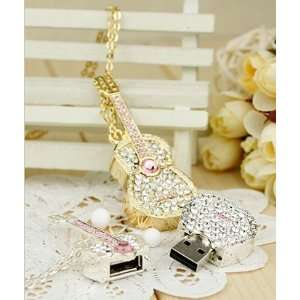 Shiny Cubic Stone Guitar USB Flash Drive with Necklace8GB