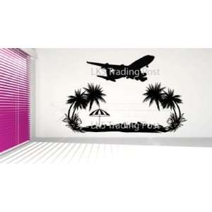 Jet Away to Paradise Airplane Beach Palm Trees Vinyl Wall