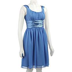 London Times Womens Sleeveless Ruched Waist Dress