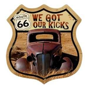 Route 66 Rusty Vintage Metal Sign Hot Rod