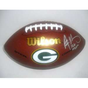 Autographed Aaron Rodgers Football   Logo Ball   XLV MVP Inscr