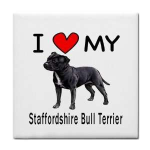 I Love My Staffordshire Bull Terrier Tile Trivet