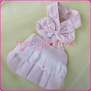 Small Dog Neckline Dress Puppy Pet Bowknot Clothes S