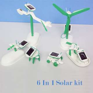 Solar power 6 in 1 toy kits DIY educational Cars Robot Boat Dog Plane
