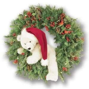 Holiday Wreath Stuffed White Bear Berries Pine Cones