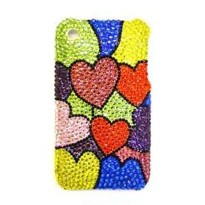 Hearts Pattern Bling Apple IPhone 3G & S Case Cover