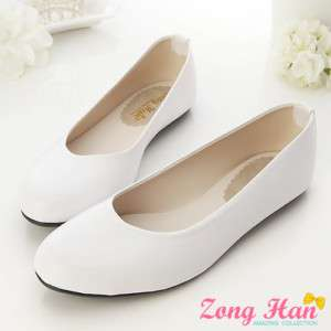 Womens Comfort Casual Round Toe Flats Shoes White