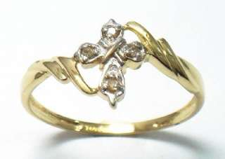 10K SOLID YELLOW GOLD DIAMONDS CROSS RING SIZE 7 R1334