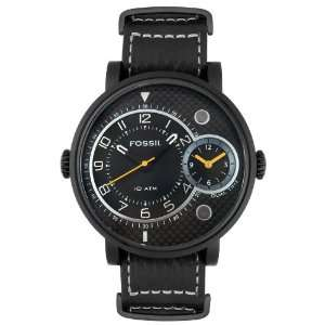Mens Dual Time Black Leather Electronics