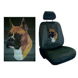 Car Truck SUV Boxer Dog Print Seat Covers 2 Charcoal Grey
