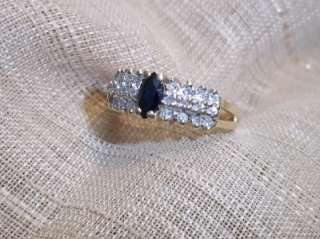 14k yellow gold sapphire & diamond pyramid ring sz 6