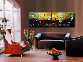 Original Abstract modern Paintings Red Contemporary Art floral by