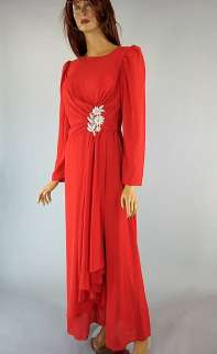 Vintage 60s Red Chiffon Christmas Party Evening Dress Beaded Emma Domb