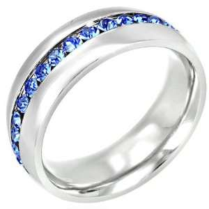 Channel Set Blue Cubic Zirconia Stainless Steel Ring   7