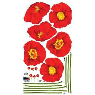 Reusable Decoration Wall Sticker Decal   Red Poppies
