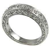 ANTIQUE STYLE ENGRAVED WEDDING BAND SOLID .925 STERLING SILVER